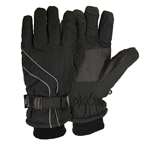 Men's Micro-Nylon Waterproof / Thinsulate Lined Cuffed Ski Glove,Black, Large