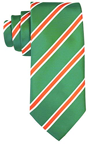 (Striped Ties for Men - Woven Necktie - Green w/Orange)