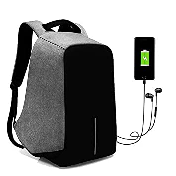 Kossh 15 Ltrs Grey Anti Theft Waterproof Backpack with Earphone - USB  Charging Port  Amazon.in  Bags 045e88353a3d4