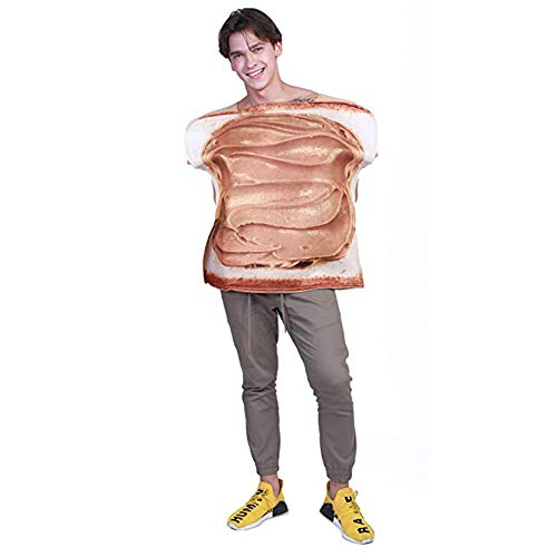 Couples Halloween Costumes for Adults Plus Size Funny Food Peanut Butter and Jelly Costume (Free Size, Jam Suit Men) Brown -