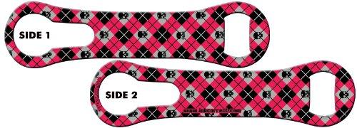 V-ROD™ Bone Bottle Opener and Pour Spout Remover: Argyle Skulls – Hot Pink