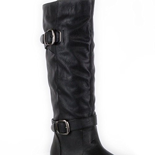 Pull High Boot Womens Black Lilley Black Knee Buckle On SAxqC4w