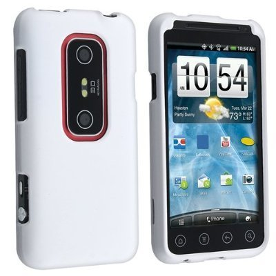 Importer520 Rubberized Snap-On Hard Skin Protector Case Cover for for (Sprint) HTC Evo 3D - White (Sprint Htc Evo 3d Phone Covers)