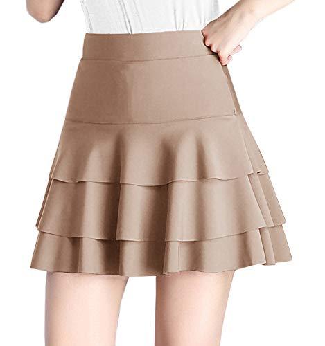 Afibi Stretchy Flared Ruffle Layered Mini Skater Skirts for Women (X-Large, Champagne)