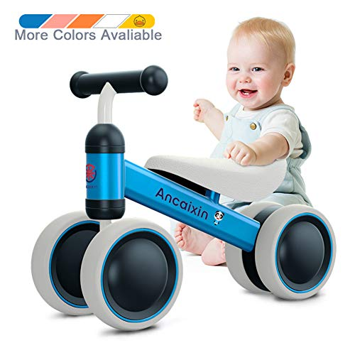 Ancaixin Baby Balance Bikes 10-24 Month Children Walker   Toys for 1 Year Old Boys Girls   No Pedal Infant 4 Wheels Toddler Bicycle   Best First Birthday New Year Holiday Blue