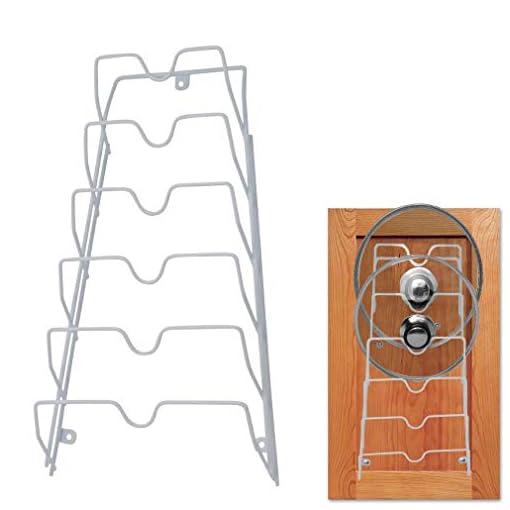 Kitchen Evelots Pot Lid Storage-Cabinet Door/Wall-Organizer-6 Pot/Pan Covers-No Scratch pot lid holders