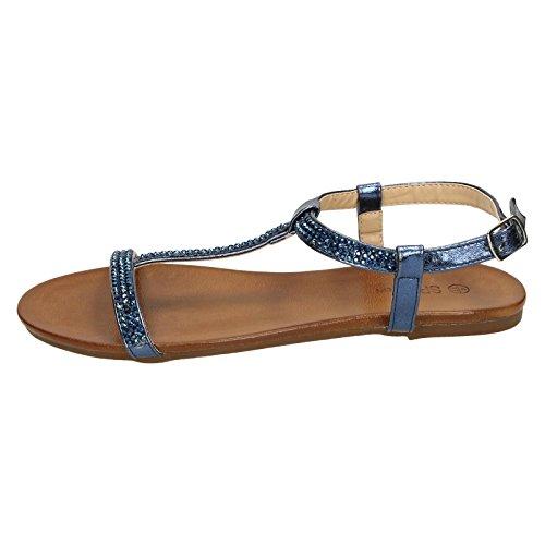 Spot On Ladies Flat Diamante T-Bar Sandals Navy (Blue) ItXIMnSS