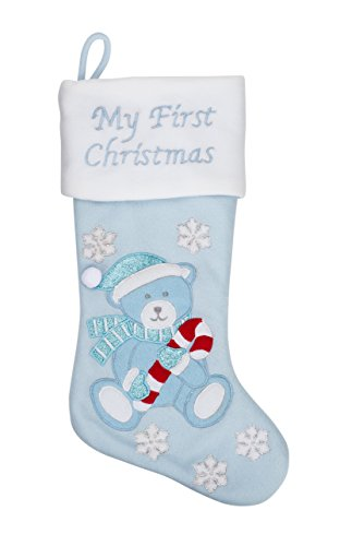 "20"" Baby's First Christmas Teddy Bear Stocking, Boy, Blue (Blue Teddy Bear) (Teddy Stocking Christmas Bear)"