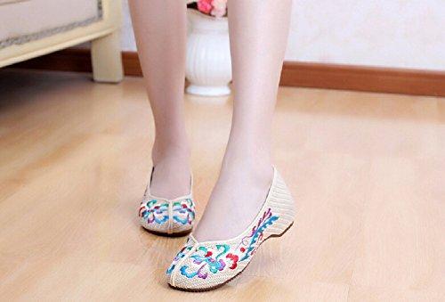 holgazán de ocasionales vintage Mocasines caminar beige de de para zapatos estilo mujeres Lazutom pTqHS8w