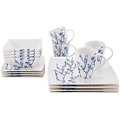 Click for Oriental Blossom Collection, 16 Piece Dinnerware Set, White/Blue