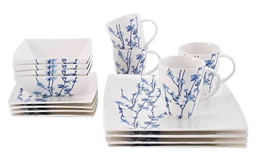 Oriental Blossom Collection, 16 Piece Dinnerware Set, White/Blue by Maxwell and Williams Designer Homewares