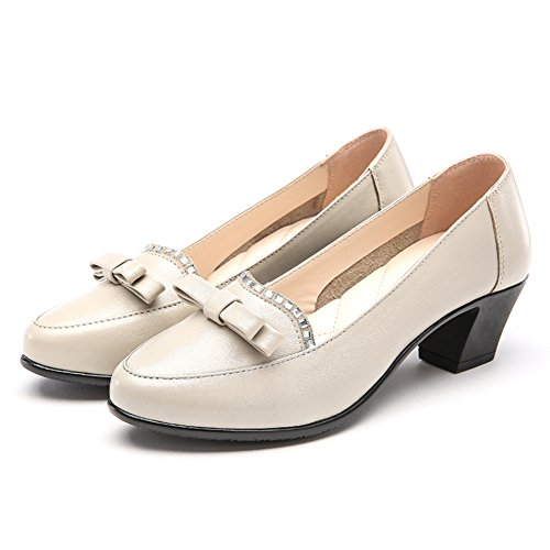 Zapatos de mujer/ zapatos de moda de crudo con antideslizante/zapatos de cuero de primavera boca redonda poco profunda B