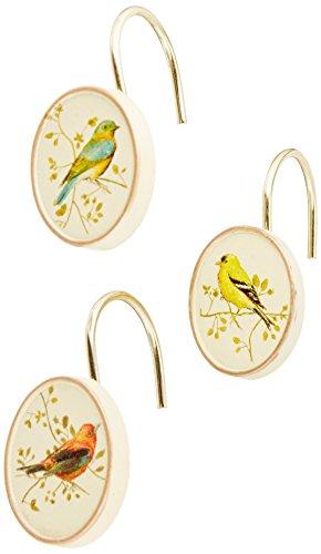 Avanti Linens Gilded Birds Shower Hooks, Ivory