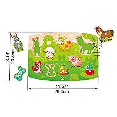Hape Farmyard Peg Puzzle | 10 Piece Wooden Animal Peg Jigsaw Puzzle Game, Learning Toy for Toddlers: Toys & Games