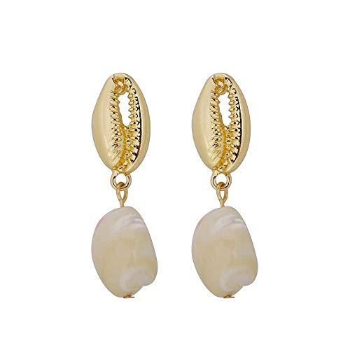Shell Gold Earrings Conch - Pearl Drop Earrings 925 Sterling Silver Earpins for Allergic Ear Shell Conch Shape Earrings for Girls Women