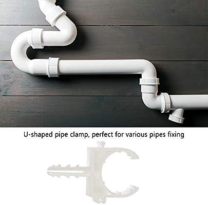 20 unids en forma de u pl/ástico tubo tubo abrazadera tubo de agua clips fijos soporte soporte con tornillo 25mm