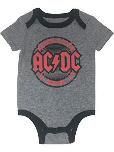AC/DC Baby Boys' Rock Band Bodysuit High Voltage Rock N Roll Heather Grey (3-6M)