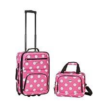 Rockland F102 Luggage Printed Luggage Set, Pink Dot, Medium, 2-Piece