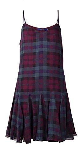 Polo Ralph Lauren Womens Silk Blend Plaid Casual Dress Purple 12