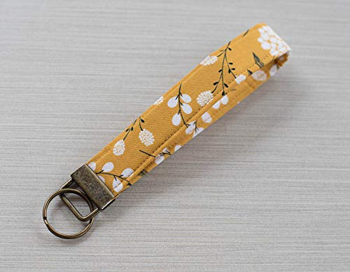 Floral Keychain Wristlet Mustard Gold Fabric Key fob Lanyard