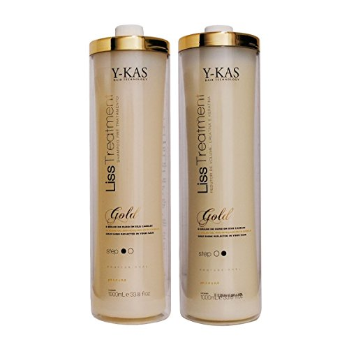Y-kas Gold Cirugia Plastica Capilar / Plastic Surgery / Brazilian Keratin Blowout Blow Dry Hair Shampoo (1000ml) + Treatment (1000ml) Effective Volume Reducer by Y-KAS