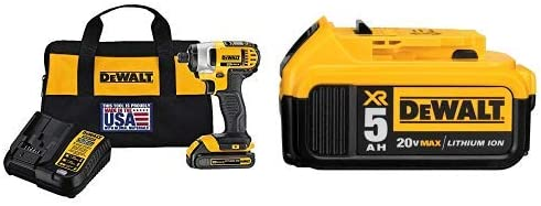 DEWALT DCF885C1 20V Max 1 4 Impact Driver Kit, with DCB205 20V MAX XR 5.0Ah Lithium Ion Battery-Pack