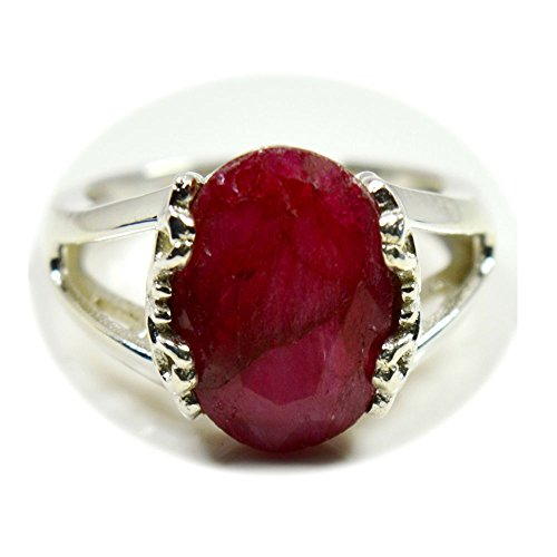 55Carat Genuine Indian Ruby Ring Sterling Silver Oval Birthstone Handmade Jewelry Size 5,6,7,8,9,10,11,12