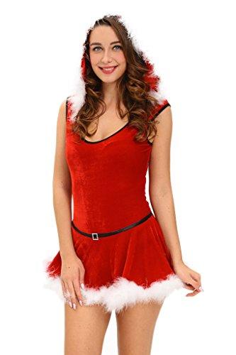 HOTAPEI Women Santa Dress Sexy Christmas Costumes Small Red (Plus Size Sexy Santa Christmas Costume)