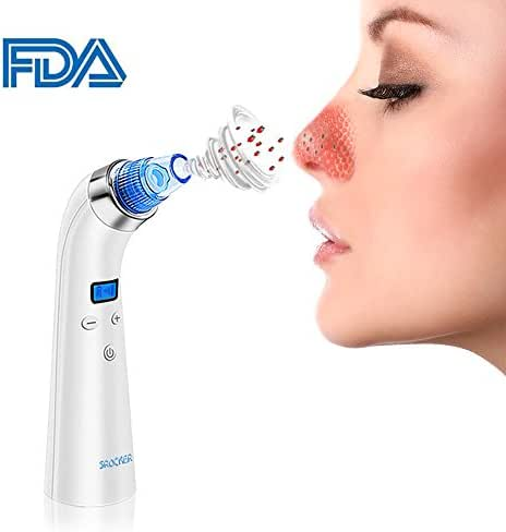 Blackhead Remover, Srocker Comedo Vacuum Suction Acne Remover Facial Pore Cleanser Exfoliating Extractor Tool with 5 Adjustable Suction Levels, 4 Replaceable Suction Probes