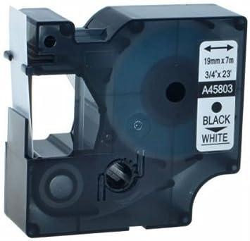 5 Nastri D1 45803 nero su bianco 19mm x 7m Etichette compatibili per Stampanti DYMO LabelManager LM 100, 110, 120P, 150, 155, 160, 200, 210D, 220P, 260, 260D, 280, 300, 350, 350D, 360D, 400, 420P, 450, 450D, 500TS, PC, PC2, PnP, PnP Wireless, LabelPoint LP