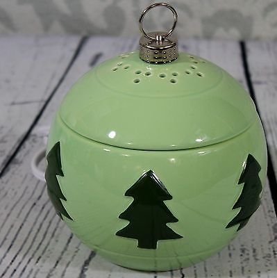 (Yankee Candle Ceramic Green Ornament with Christmas Trees Electric Wax Tarts Melts Warmer)