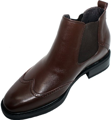 Calden - k288021-7,6 cm Grande Taille - Hauteur Augmenter Ascenseur shoes-brown wing-tip Cheville Bottes