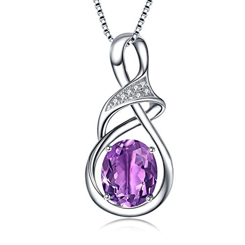 BLOVIN 925 Sterling Silver Unstoppable Love Purple Birthstone Pendant Necklace for Women Girls Jewelry