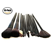FSDUALWIN Makeup Brush Set, Premium Cosmetic Brushes for Foundation Blending Blush Concealer Eye Shadow, Cruelty-Free Synthetic Fiber Bristles, PU Leather Roll Clutch Included (15pcs, Black)