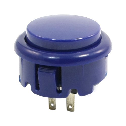 Uxcell Round Head SPST Momentary Push Button Switch for Game Machine, Blue - Arcade Single Hole