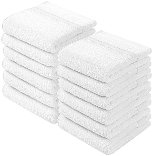 Utopia Towels Premium 700 GSM Washcloths Towel Set (12 Pack, White, 12x12 Inches) Multi-Purpose Extra Soft Fingertip Towels, Highly Absorbent Face Cloths, Machine Washable Sport, and Workout Towels