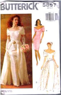 Butterick Sewing Pattern 5897 Wedding Dress Detachable Overskirt