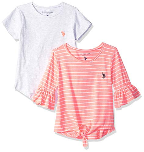 U.S. Polo Assn. Girls' Toddler 2 Pack T-Shirt, Coral Stripe Light Heather Grey Solid Multi, 3T (Girls Clothing Polo)