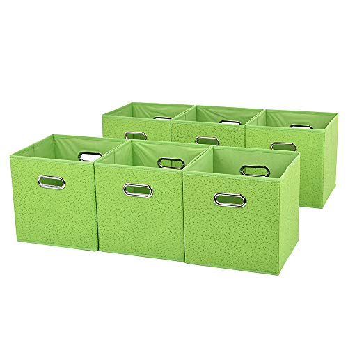 VCCUCINE Space-Saving Fabric Drawers for Cubes,Set of 6 Bright Green Containers Drawers With Two Mental Handle