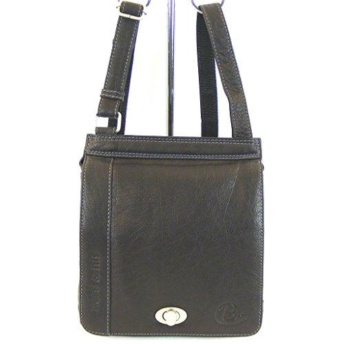 Fashionland Damen Tasche Überschlagtasche Leder schwarz 11586 Reißverschlussfach