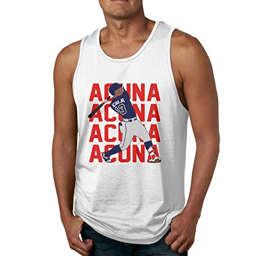 Moore Me Men's Sleeveless Tank Top Shirts Atlanta Acuna Text Pic Gym Vestl Sport T-Shirt White