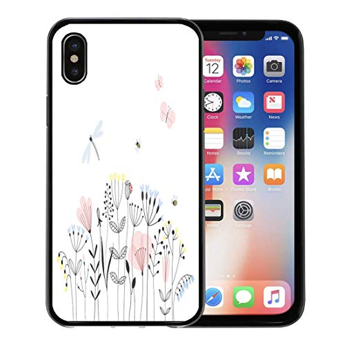 Emvency Phone Case for Apple iPhone Xs case,Colorful Butterfly Summer Flower Field Doodle Dragonfly Scandinavian for iPhone X Case,Rubber Border Protective Case,Black