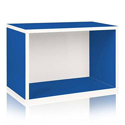 Modular Display System Rectangle (Way Basics Eco Stackable Shelf and Shoe Rack, Blue (made from sustainable non-toxic zBoard paperboard))