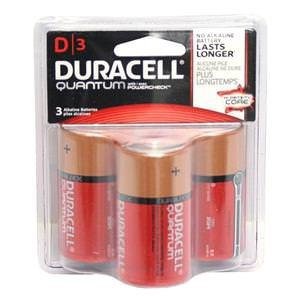 Duracell Quantum D Alkaline Batteries with Duralock Power Preserve Technology, 3 Pack