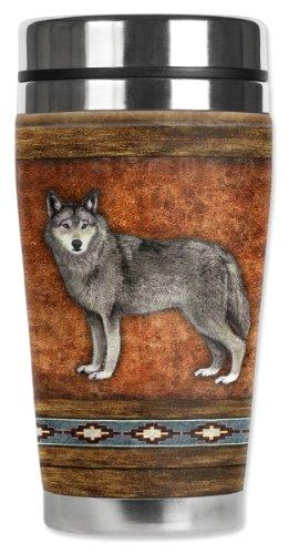 (Mugzie Wolf Travel Mug with Insulated Wetsuit Cover, 16 oz, Black)