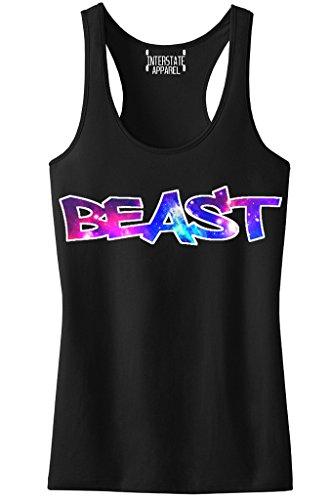 Galaxy Graffiti Beast Tee Junior's Black Racerback Tank Top T-Shirt Large - Graffiti Junior