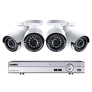 Lorex Weatherproof Indoor/Outdoor Home Surveillance Security System, 4MP Super HD IP Wired Bullet Cameras w/Long Range Color Night Vision (4 Pack) – Includes 8 Channel 4K DVR + 1 TB Storage Hard Drive
