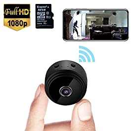 Mini Spy Camera WiFi Wireless Hidden Video Camera 1080P HD Small Home Security Surveillance Cameras with 32G SD Card…
