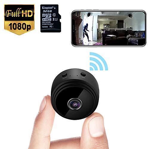 🥇 Mini Spy Camera WiFi Wireless Hidden Video Camera 1080P HD Small Home Security Surveillance Cameras with 32G SD Card