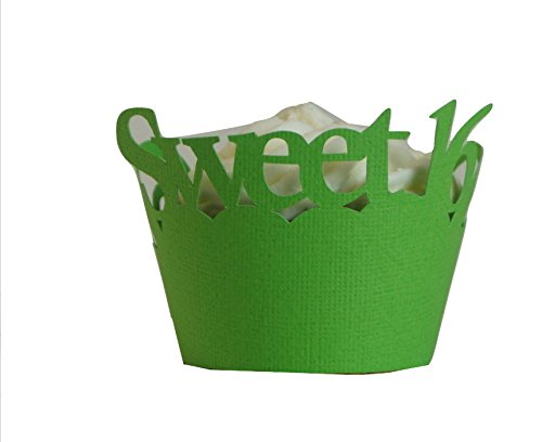 All About Details Sweet 16 Cupcake Wrappers, Set of 12 (Grass Green) (Grass Wrappers Cupcake)